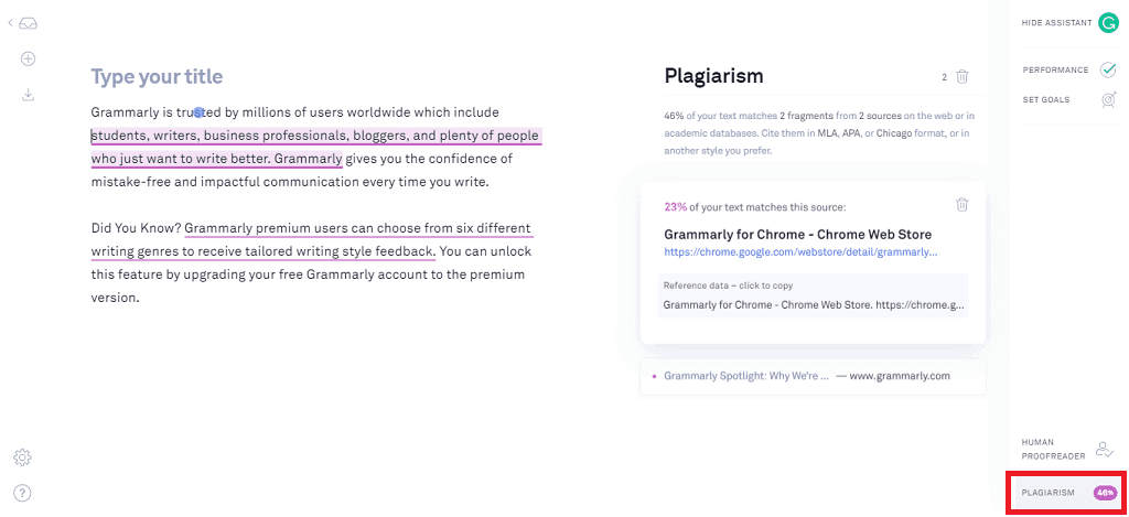Grammarly Plagiarism Checker