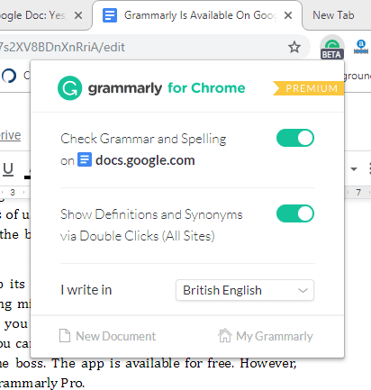 Grammarly Beta On Google Doc