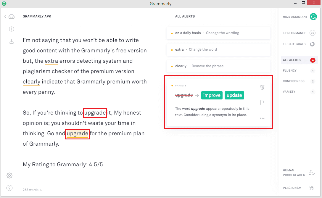 Grammarly Vocabulary Checker